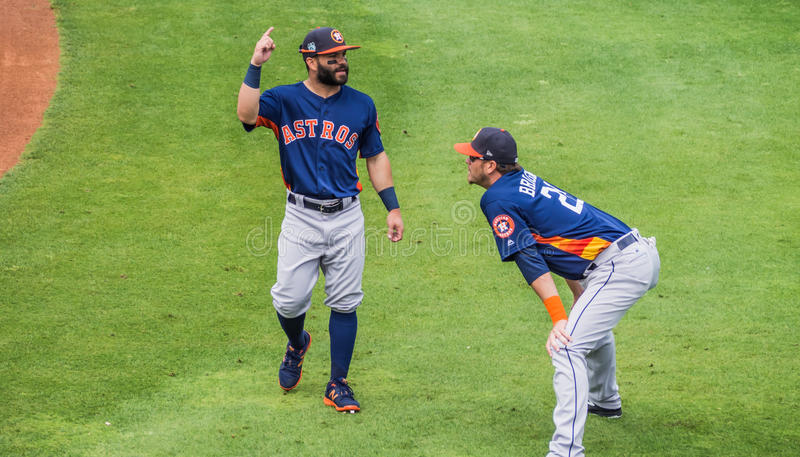 Jose Altuve Reid Brignac Houston Astros 2017 photos stock