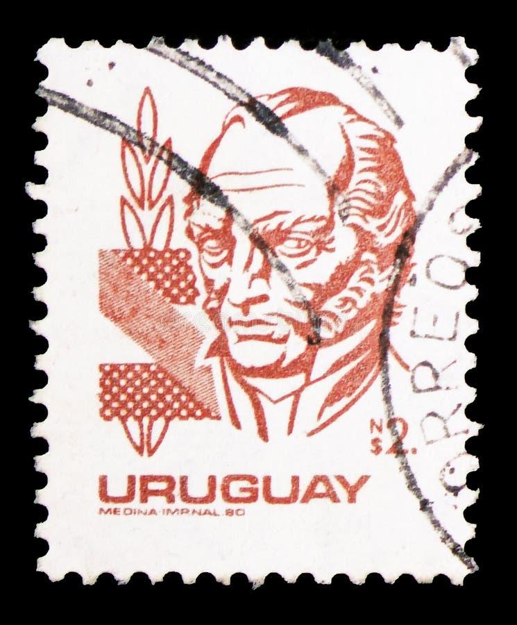 Jose Artigas, Definitives - General Artigas VI serie, circa 1980 stockbilder
