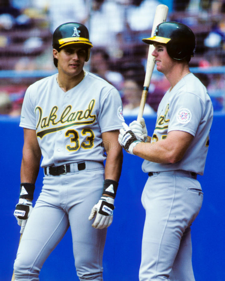 Jose Canseco and Mark McGwire, Oakland A's stock photo