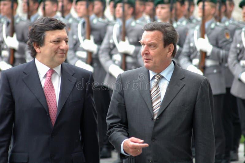 Jose Manuel Barroso, Gerhard Schroeder lizenzfreies stockfoto