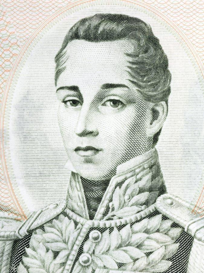 Jose Maria Cordova portrait. From Colombian money royalty free stock photos