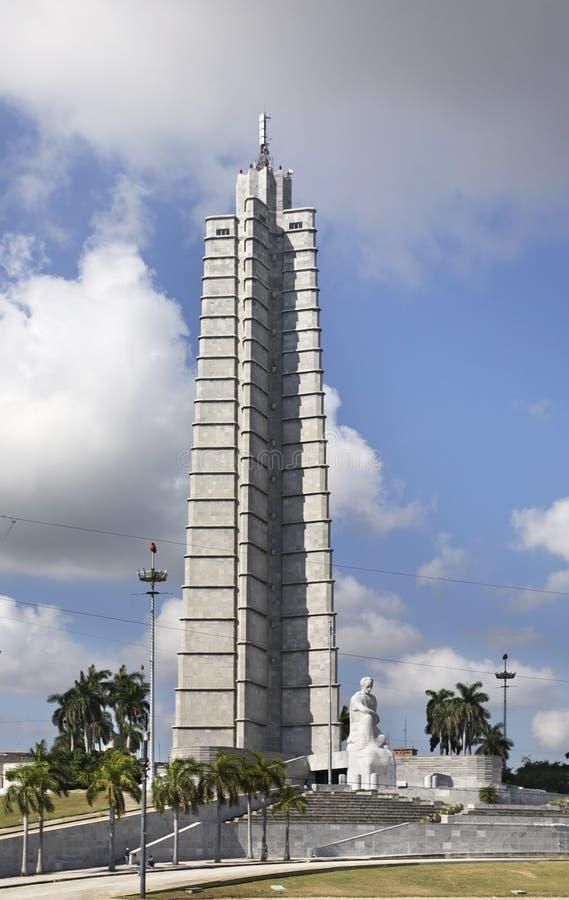Jose Marti pomnik na rewolucja kwadracie w Hawańskim Kuba obrazy royalty free