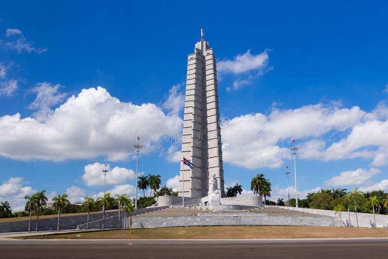 Jose Marti pomnik przy placem De Los angeles Revolucion w Hawańskim Kuba obrazy royalty free
