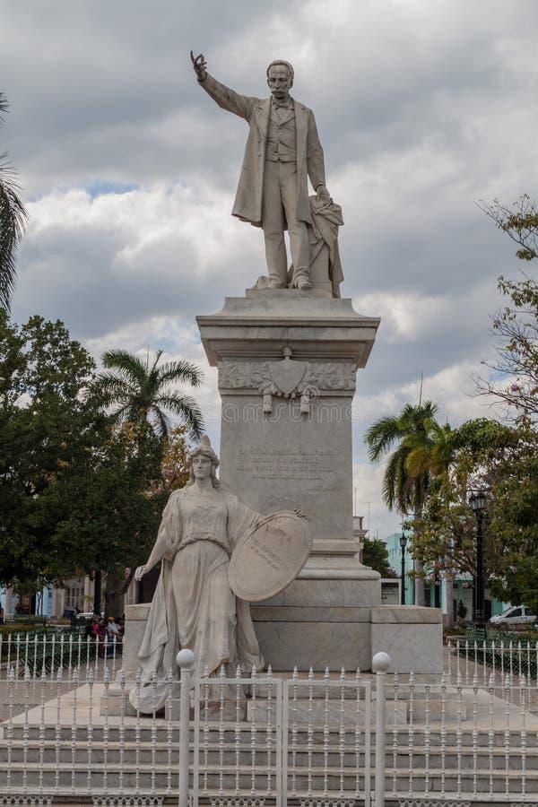 Jose Marti statua przy Parque Jose Marti kwadratem w Cienfuegos, lisiątko zdjęcie royalty free