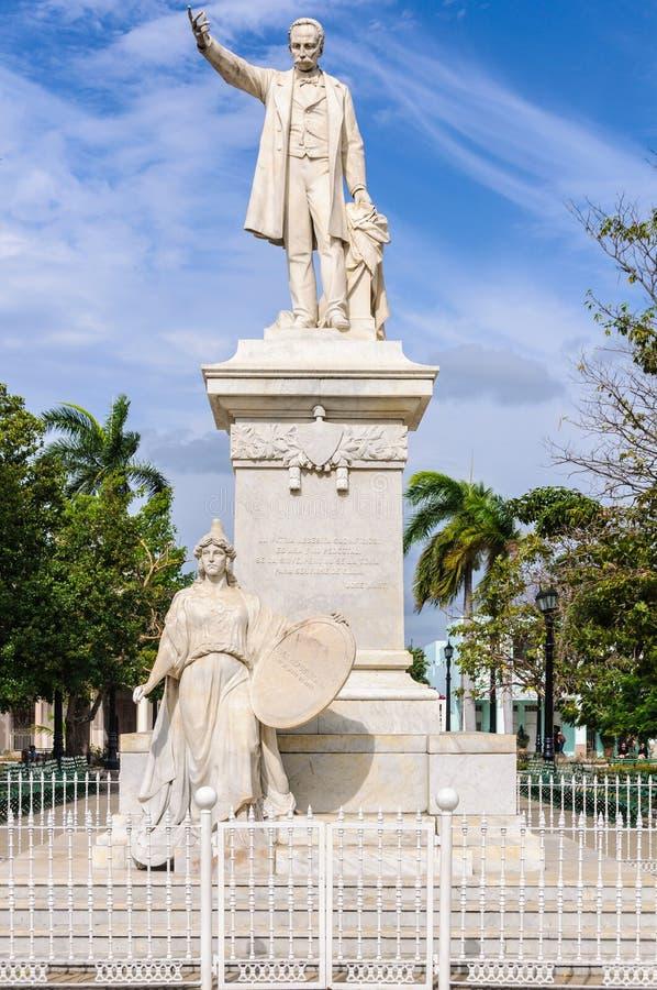 Jose Marti statua w głównym placu Cienfuegos, Kuba obrazy royalty free