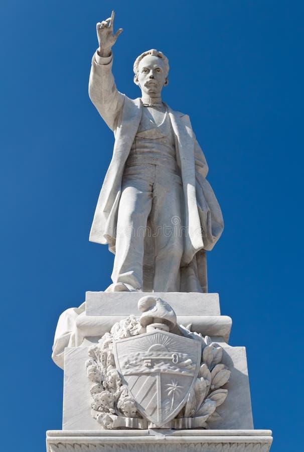 Jose Marti staty i Centralet Park av Havana 免版税图库摄影