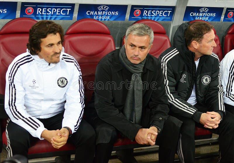 Jose Mourinho του εορτασμού στόχου της Chelsea στοκ φωτογραφίες
