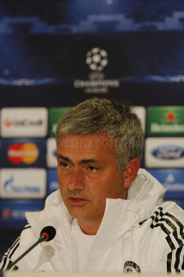 Jose Mourinho Chelsea - konferencja prasowa fotografia stock
