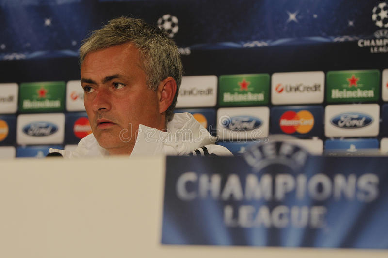 Jose Mourinho of Chelsea - Press Conference stock photography