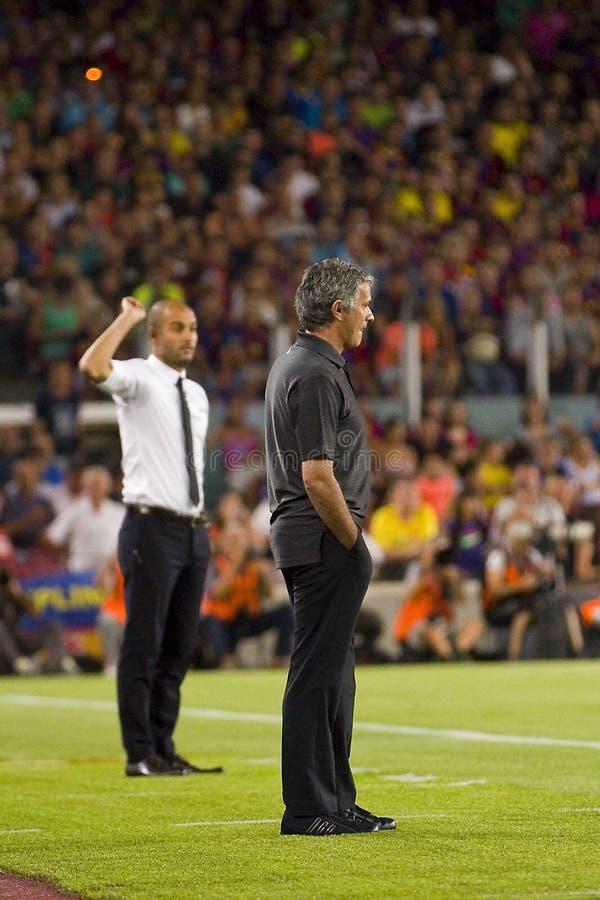 Jose Mourinho et Pep Guardiola photo libre de droits