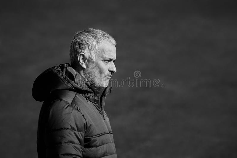 Jose Mourinho lagledare av `-Manchester United`, royaltyfria foton