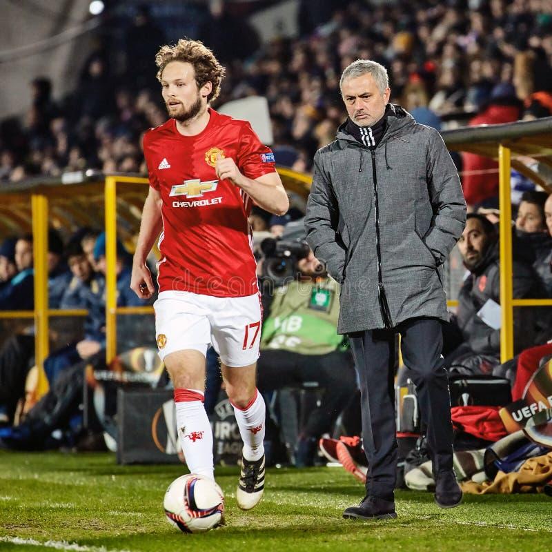 Jose Mourinho, moments de jeu dans le match images stock