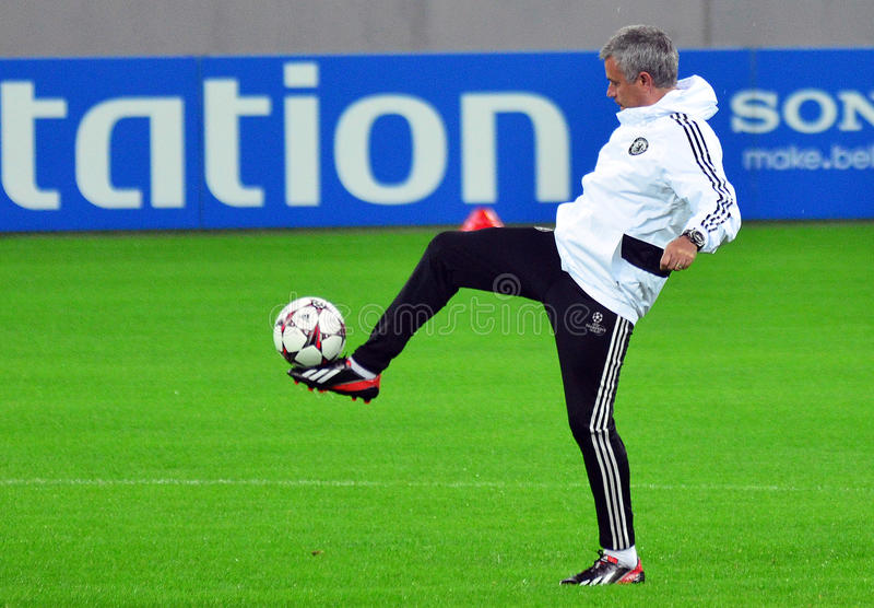 Jose Mourinho during UEFA Champions League official training. Chelsea's portuguese manager Jose Mourinho pictured in action during the official training held royalty free stock photography