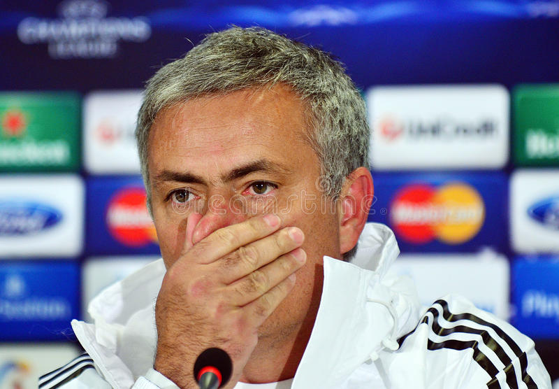 Jose Mourinho during UEFA Cheampions League press conference. Chelsea's portuguese manager Jose Mourinho reacts during the official press conference held with stock photography