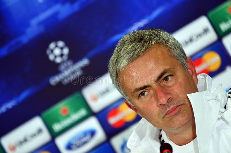 Jose Mourinho during UEFA Cheampions League press conference. Chelsea's portuguese manager Jose Mourinho reacts during the official press conference held with stock photo