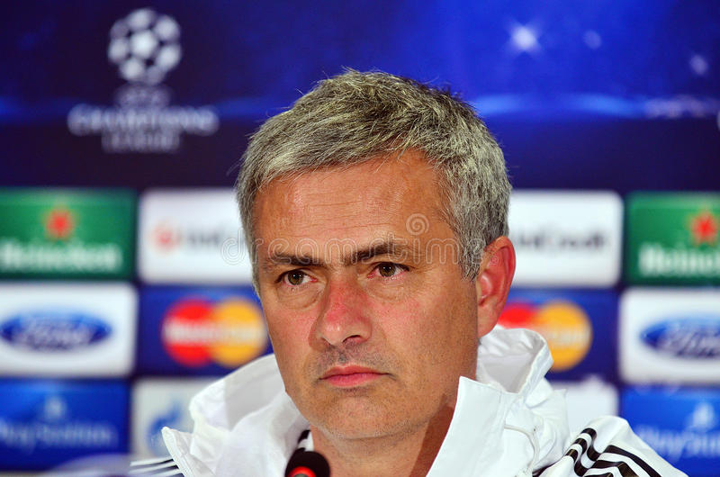 Jose Mourinho during UEFA Cheampions League press conference. Chelsea's portuguese manager Jose Mourinho reacts during the official press conference held with royalty free stock images
