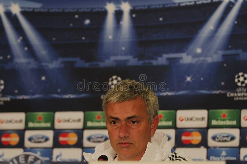 Jose Mourinho von Chelsea - Pressekonferenz lizenzfreies stockfoto