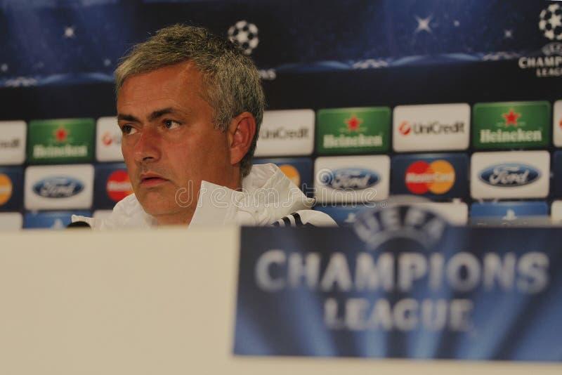 Jose Mourinho von Chelsea - Pressekonferenz stockfotografie