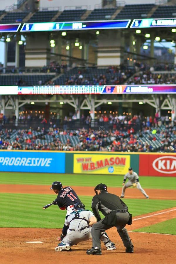 Jose Ramirez, Cleveland Indians Baseball game. Cleveland Indians Major League Baseball game at Progressive Field in Cleveland , Ohio, USA royalty free stock photography