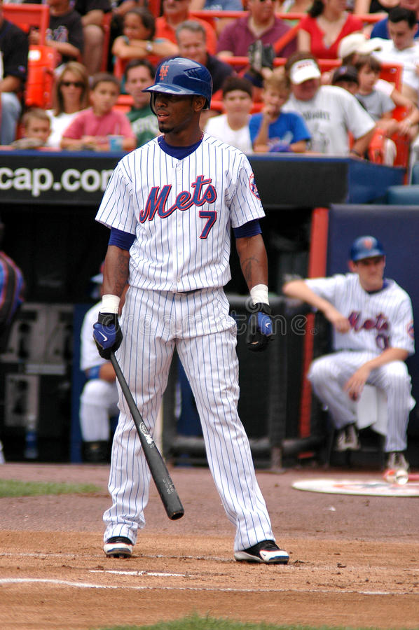 Jose Reyes stepping up to the plate. New York Mets shortstop Jose Reyes steps into the batter's box stock images
