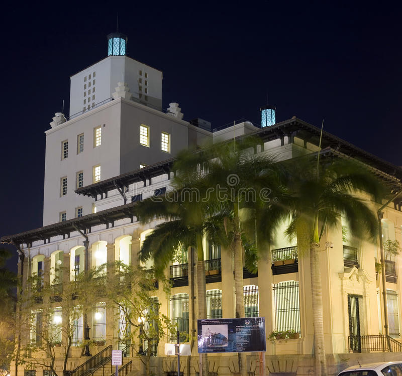 The Jose V. Toledo Federal Building and United States Courthouse. OLD SAN JUAN, PUERTO RICO - FEBRUARY 6: The Jose V. Toledo Federal Building and United States royalty free stock photography