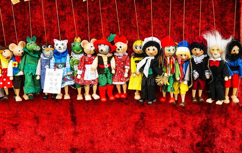 Puppets on Market in the Josefov or jewish area in Prague in the Czech Republic. Josefov, Prague 1. The Jewish Quarter Josefov in Prague is located between the royalty free stock photography