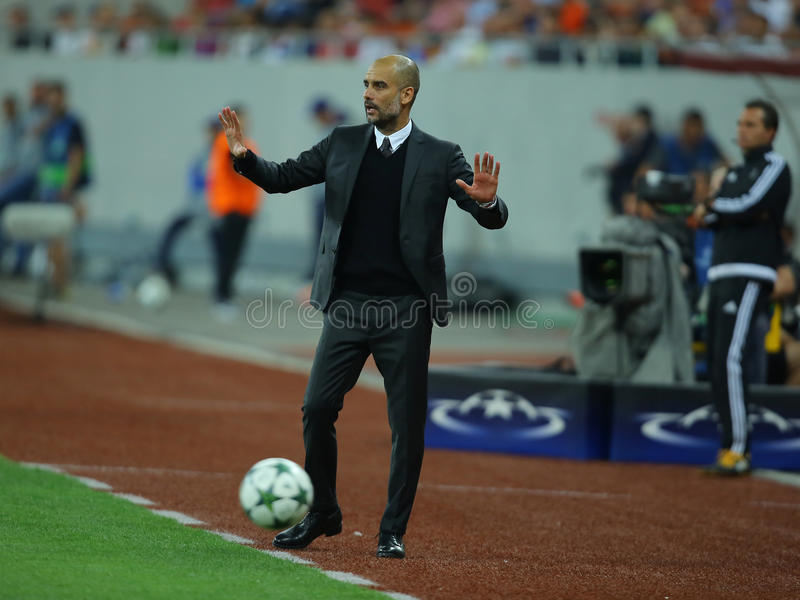 """Josep Guardiola. Josep """"Pep"""" Guardiola i Sala manager of Manchester City, pictured during the Uefa Champions League match against Steaua Bucharest stock photos"""