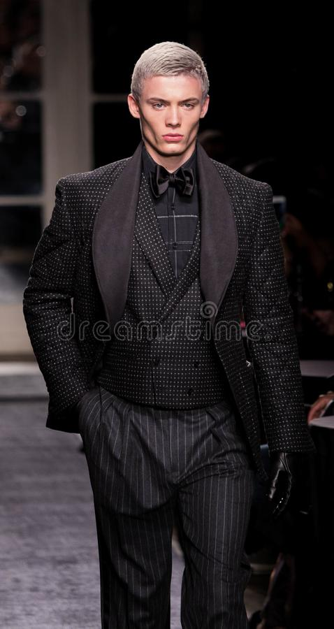 Joseph Abboud Men Winter collection during New York Fashion Week 2018. A model walks runway for Joseph Abboud Fall/Winter show during NY Fashion Week at Wolcott royalty free stock image