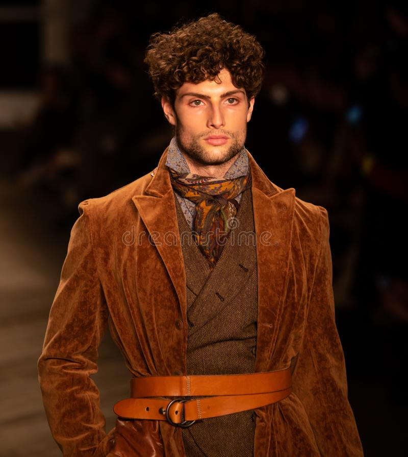 Joseph Abboud Mens Fall 2019 Fashion show as part of New York Fashion Week. Seaport, Pier 16, Manhattan, New York - February 4, 2019: Joseph Abboud Fashion show royalty free stock images