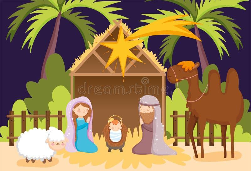Joseph e Mary baby jesus camel e criatividade de ovelha ilustração royalty free
