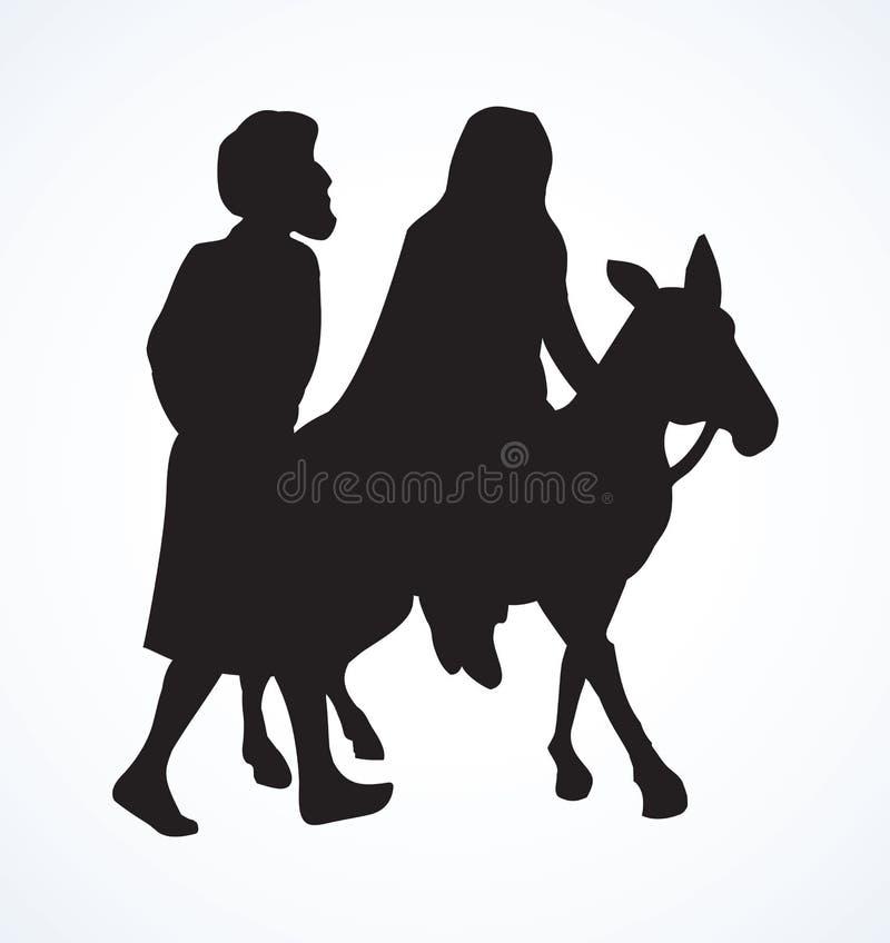 Joseph e Mary vão a Bethlehem Desenho do vetor ilustração stock