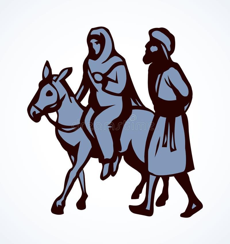 Joseph e Mary v?o a Bethlehem Desenho do vetor ilustração do vetor