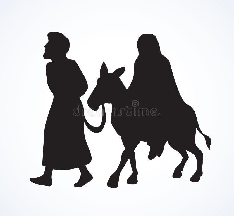 Joseph e Mary v?o a Bethlehem Desenho do vetor ilustração royalty free
