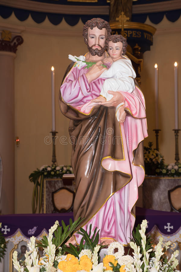 Joseph is a figure in the Gospels, the husband of Mary, mother of Jesus, and is venerated. This Saint Joseph is in the St.Joshep royalty free stock photo