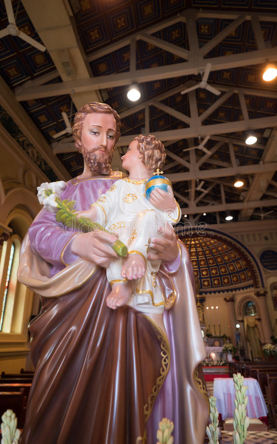 Joseph is a figure in the Gospels, the husband of Mary, mother of Jesus, and is venerated. This Saint Joseph is in the St.Joshep royalty free stock photos