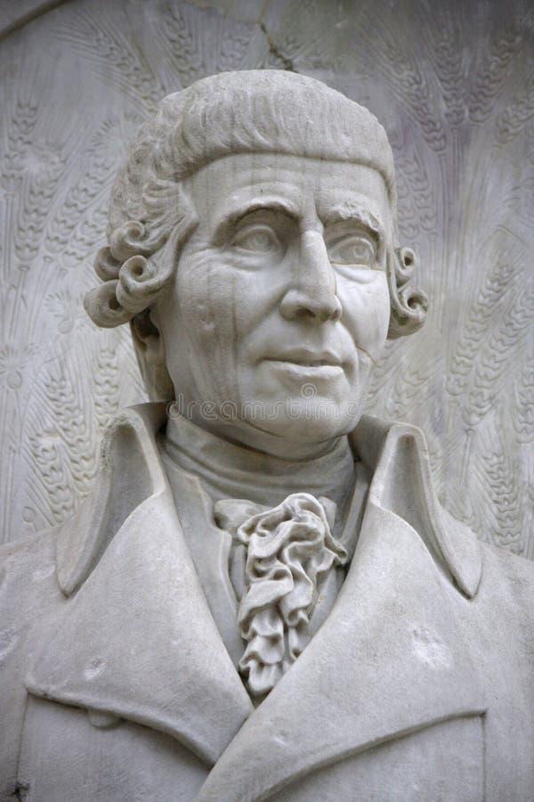 Joseph Haydn. DECEMBER 2013 - BERLIN: the bust of Joseph Haydn at the conductors monument (Komponistendenkmal) in the Tiergarten park of Berlin stock photo