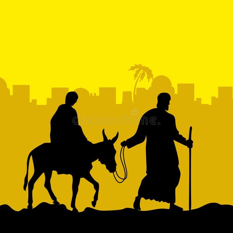 Joseph i Mary jesteśmy na ośle boże narodzenie w tle obramiająca wakacyjna scena royalty ilustracja