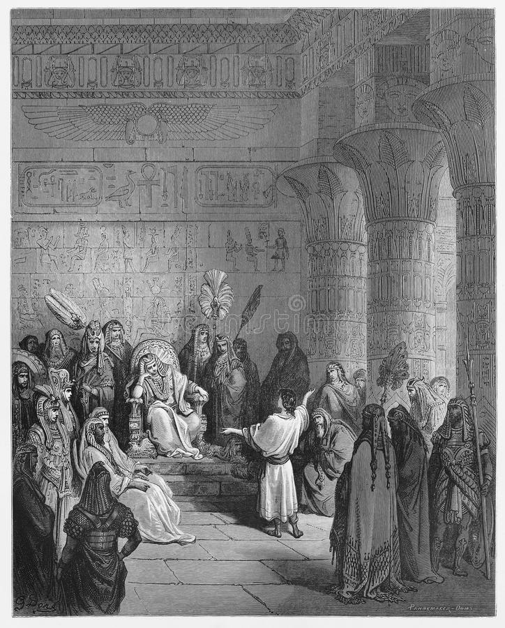 Joseph interprets Pharaoh's dream. Picture from The Holy Scriptures, Old and New Testaments books collection published in 1885, Stuttgart-Germany. Drawings by