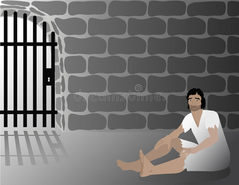 Joseph In Jail Biblical Illustration Stock Vector