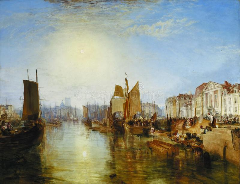 Joseph Mallord William Turner - hamnen av Dieppe, 1826 royaltyfri foto