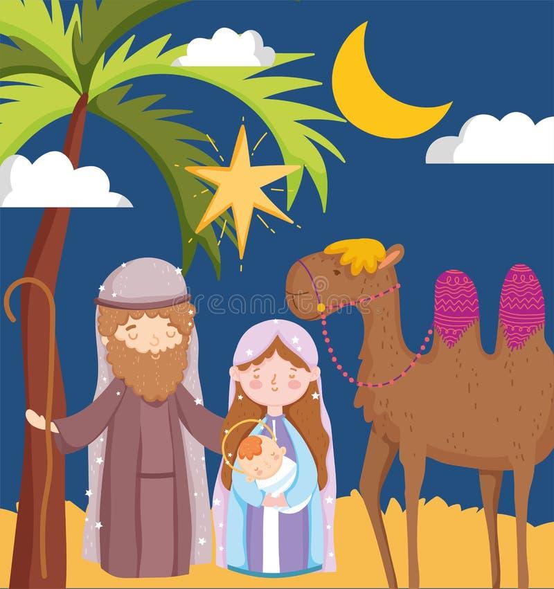 Joseph maria carregando natividade estrela do deserto do bebê e camelo ilustração do vetor