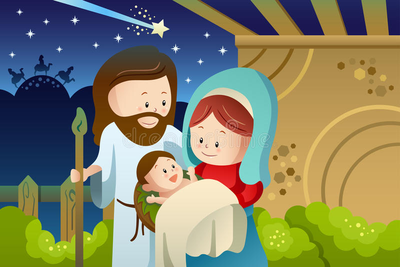 Joseph, Mary και μωρό Ιησούς για την έννοια nativity διανυσματική απεικόνιση