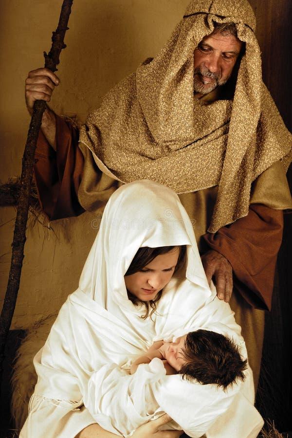 Joseph Mary e Jesus fotografia de stock royalty free