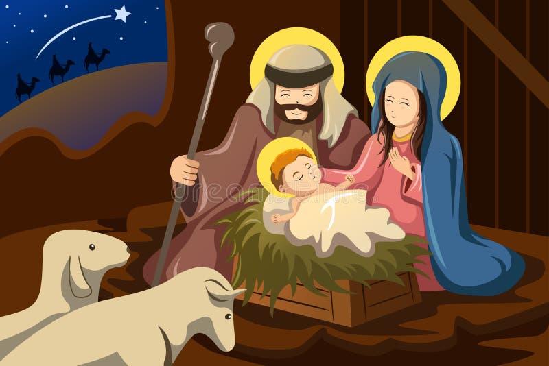 Joseph, Mary en baby Jesus vector illustratie