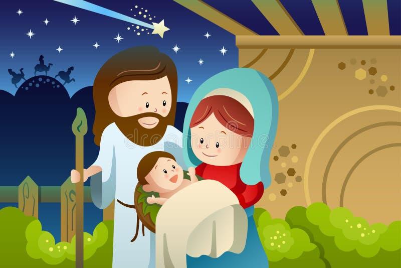 Joseph Mary och behandla som ett barn Jesus för Kristi födelsebegrepp vektor illustrationer