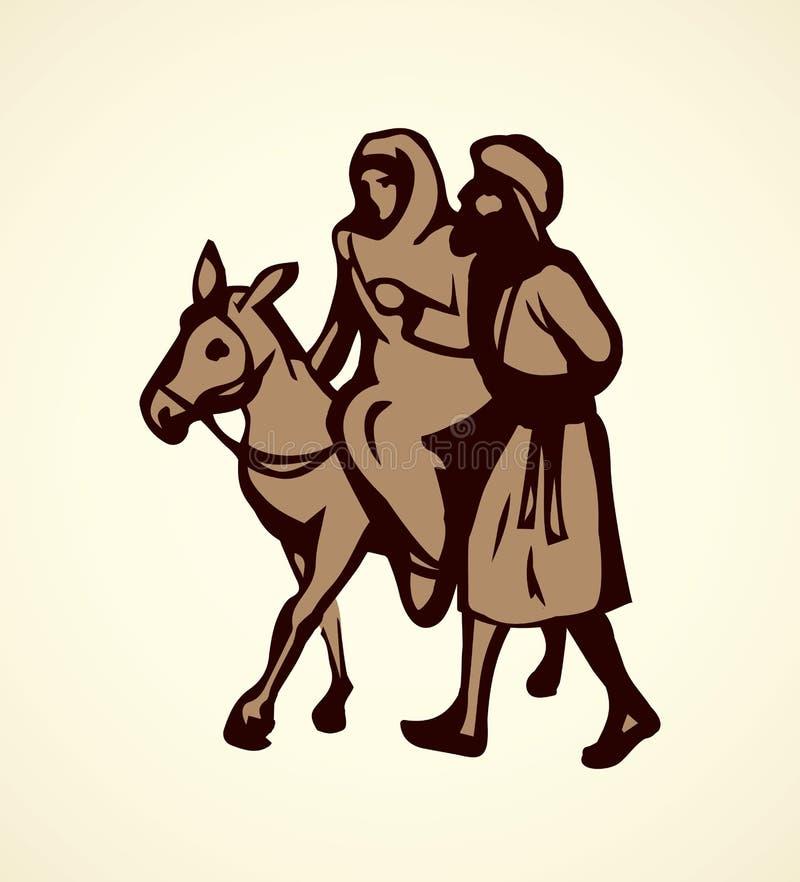 Joseph Mary vai a Bethlehem Desenho do vetor ilustração do vetor