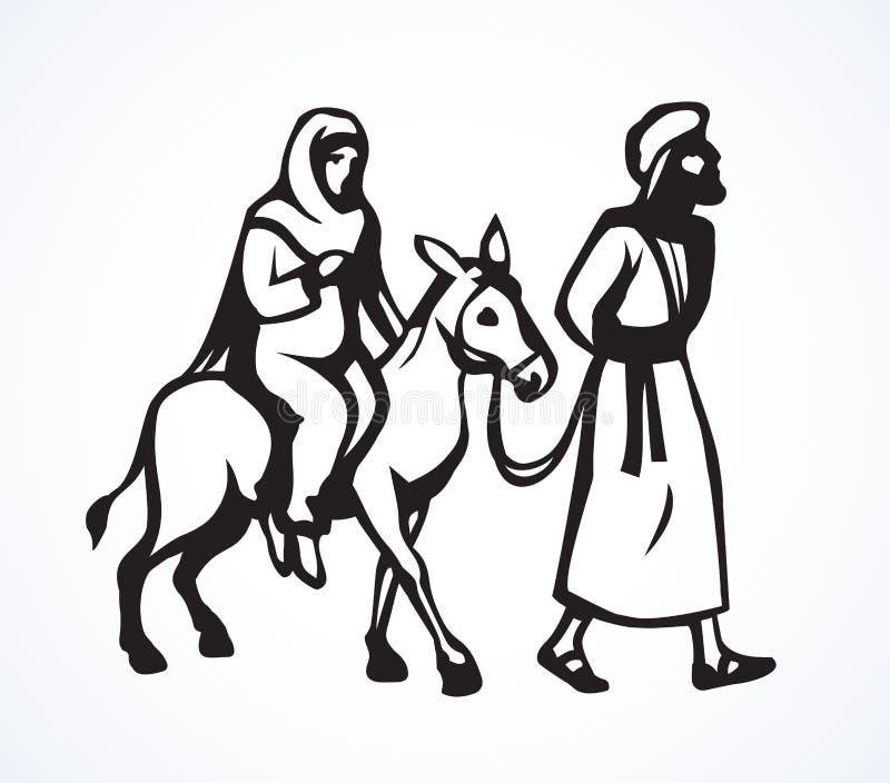 Joseph Mary vai a Bethlehem Desenho do vetor ilustração royalty free