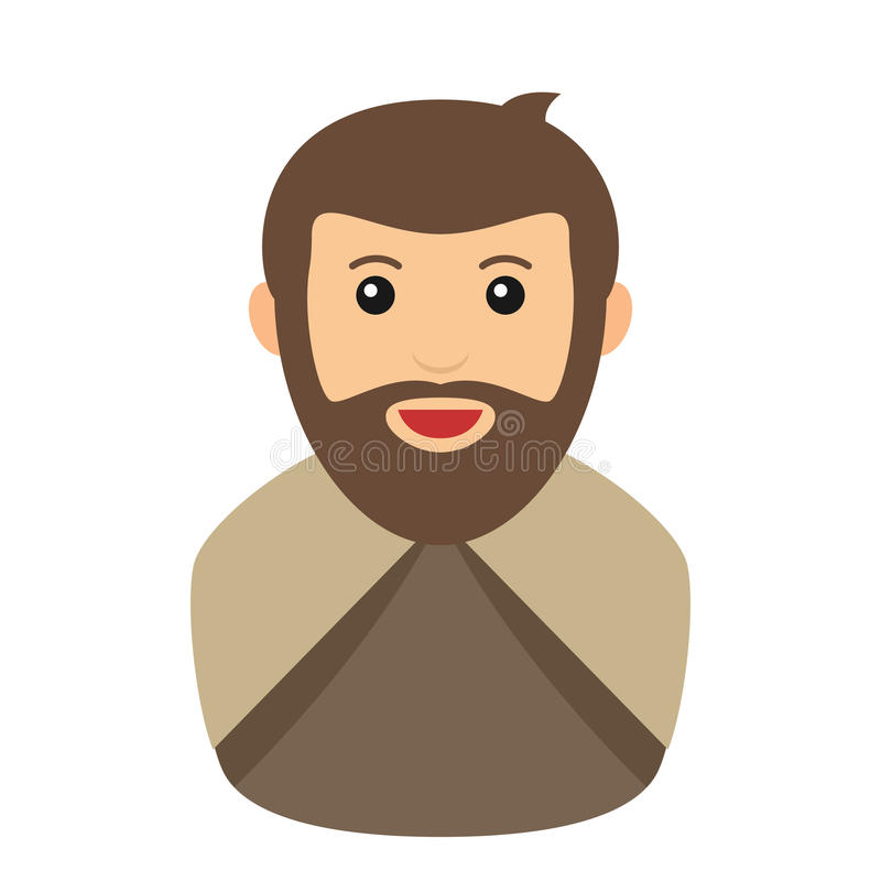 Joseph Nativity Avatar Flat Icon op Wit vector illustratie