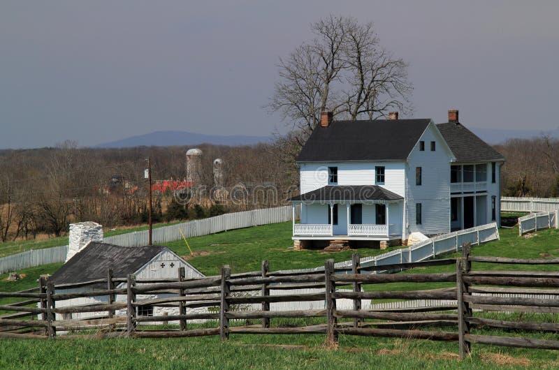Joseph Poffenberger Farmstead at Antietam National Battlefield. SHARPSBURG, MD – APRIL 14: Union troops spent the night on the Joseph Poffenberger farm stock images