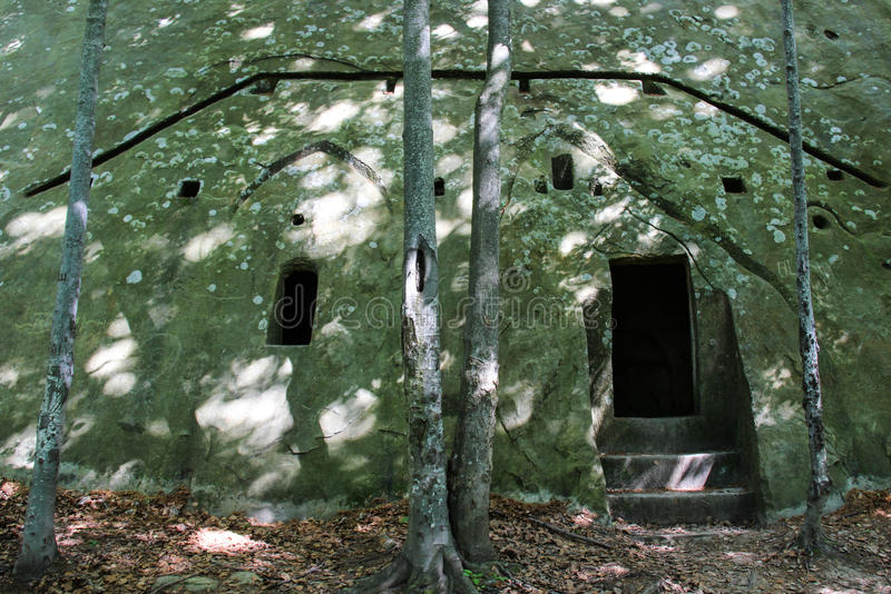 Joseph's Church - Biserica lui Iosif. An ancient cave church situated in the Buzau mountains, close to the village of Nucu Bozioru in Tara Luanei, Buzau county stock photography